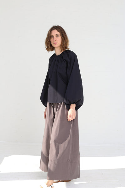 Studio Nicholson Gathered Volume Top in Dark Navy on model view side