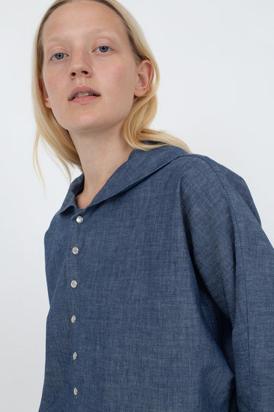 B Sides Bresson Shirt in Rie Blue Front View Cropped