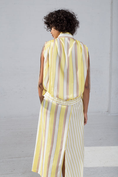 Rito Two Pattern Combination Skirt in Yellow back view