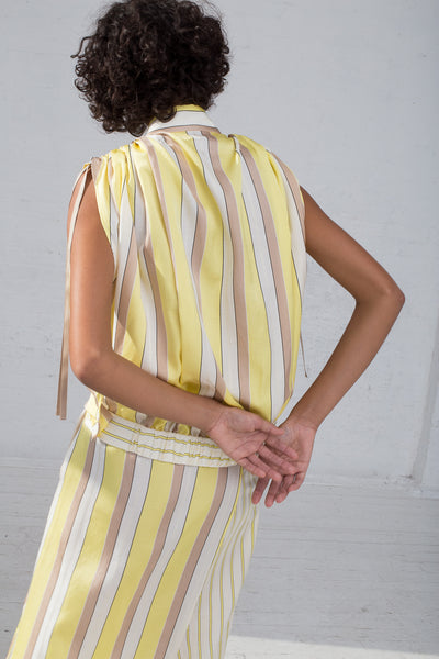Rito Two Pattern Combination Skirt in Yellow cropped back view