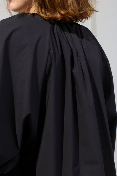 Studio Nicholson Gathered Volume Top in Dark Navy back zip detail view