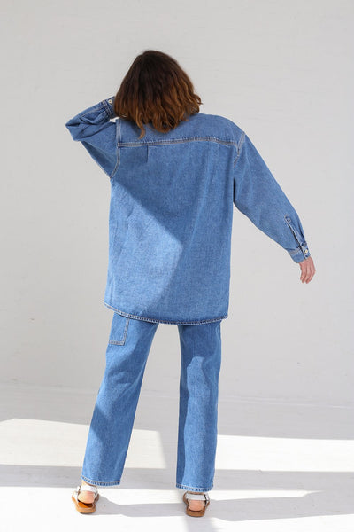 Jesse Kamm Okuda Jacket in Japanese Denim/Cowboy Blue on model view back