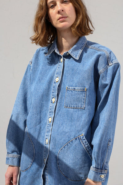 Jesse Kamm Okuda Jacket in Japanese Denim/Cowboy Blue on model view front