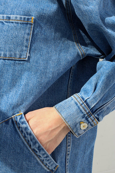 Jesse Kamm Okuda Jacket in Japanese Denim/Cowboy Blue on model view pocket detail