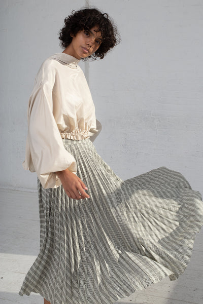 Shaina Mote Aster Skirt in Cream/Onyx Checks cropped front view