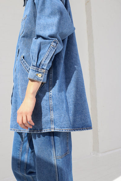 Jesse Kamm Okuda Jacket in Japanese Denim/Cowboy Blue on model view side view