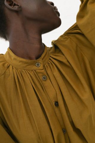 Black Crane Balloon Sleeve Blouse in Olive | Oroboro Store | New York, NY