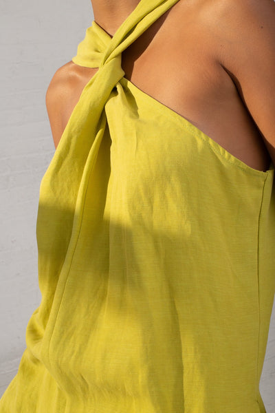 Shaina Mote Teo Jumpsuit in Lichen cropped neck detail view