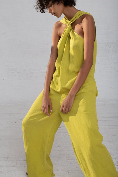 Shaina Mote Teo Jumpsuit in Lichen cropped front view