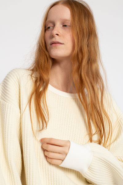 Chimala Stretch Stripe Quilted Cloth Crew Top in Off White | Oroboro Store | New York, NY