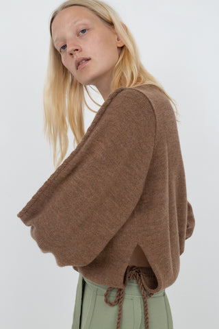 Veronique Leroy Tie Waist Sweater in Camel | Oroboro Store | New York, NY