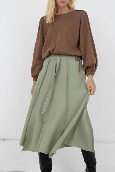 Veronique Leroy Skirt With Hem in 71 Pale Green | Oroboro Store | New York, NY