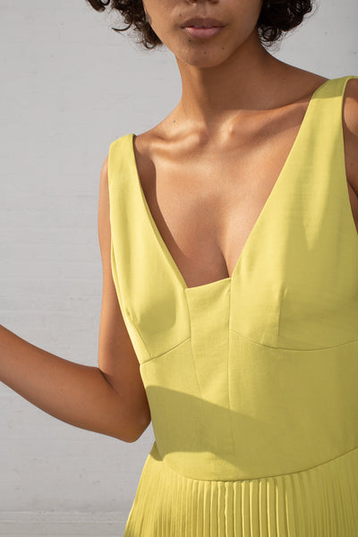 Shaina Mote Coba Dress in Lichen cropped front detail view