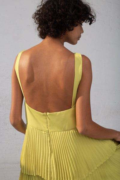 Shaina Mote Coba Dress in Lichen cropped back detail view