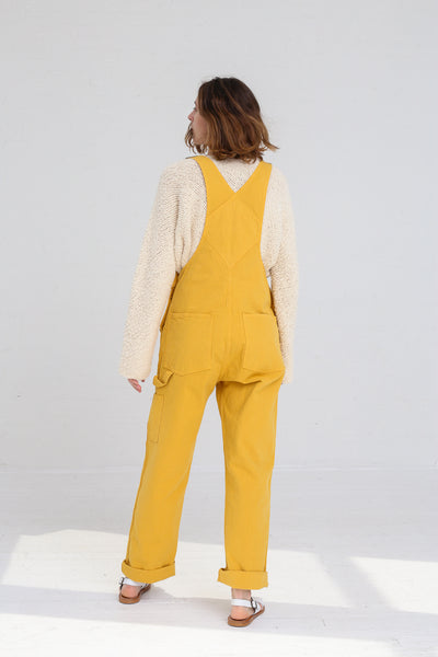 Jesse Kamm Overalls in Caribbean Gold on model view back