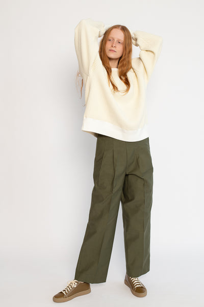 Chimala Pleated Baggy Trouser in Khaki Green | Oroboro Store | New York, NY