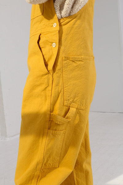 Jesse Kamm Overalls in Caribbean Gold on model view side