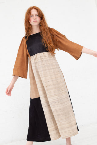 Milena Silvano Kelci Dress in Natural, Rust & Black | Oroboro Store | New York, NY