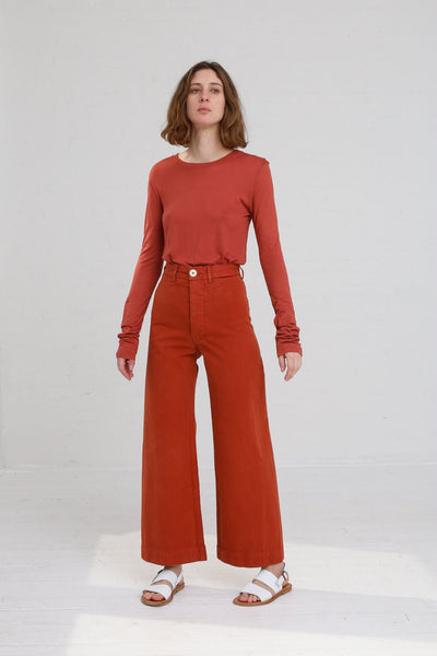 Jesse Kamm Sailor Pant in Paprika on model view front