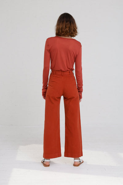 Jesse Kamm Sailor Pant in Paprika on model view back