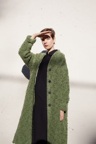 Samuji Long Bon Coat in Bearded Moss Green | Oroboro Store | Brooklyn, New York