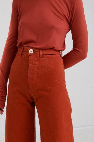 Jesse Kamm Sailor Pant in Paprika on model view fly detail