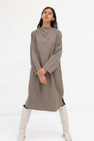 Black Crane Folded Neck Dress in Ash Tencel/Cotton | Oroboro Store | New York, NY