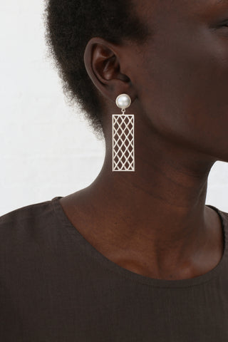 Ursa Major Netted Panel Earrings in Silver Pearl and Onyx | Oroboro Store | New York, NY