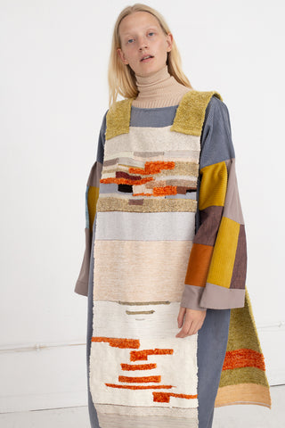 Jess Feury Colorblock Overlay in Golden Chenille, Front View, Oroboro Store,New York, NY