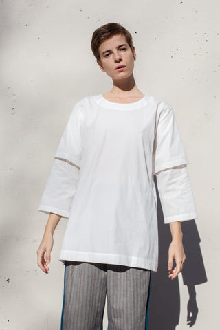 Rowena Sartin Double Sleeve Fake T-Shirt in White Cotton | Oroboro Store | Brooklyn, New York