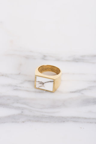 Legier White Turquiose Signet Ring | Oroboro Store | Brooklyn, New York