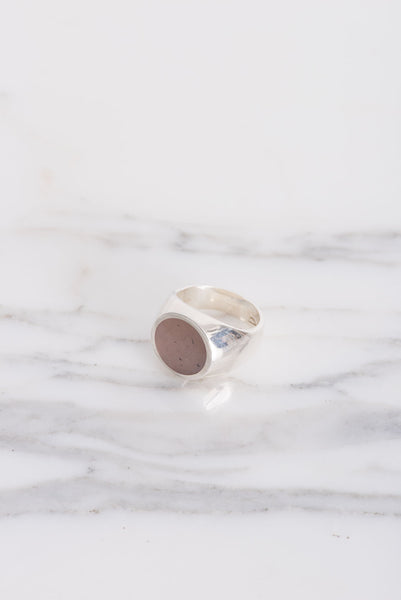 Legier Silver Round Signet Ring in Peach Moonstone | Oroboro Store | Brooklyn, New York