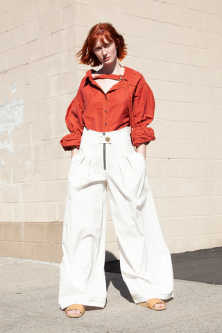 Rejina Pyo Allie Trousers Denim in White | Oroboro Store | New York, NY