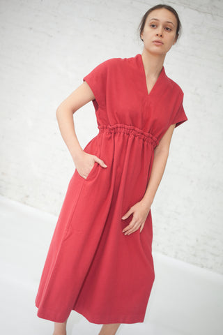 Herbal Dyed Pure Woolen Dress in Natural Red