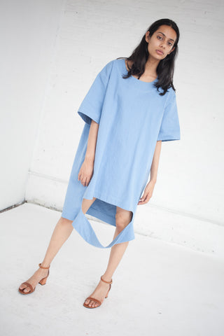 Nancy Stella Soto Cut Out Denim Tee Shirt Dress in Blue | Oroboro Store | New York