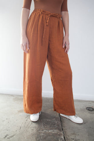 Drawstring Pants in Rust