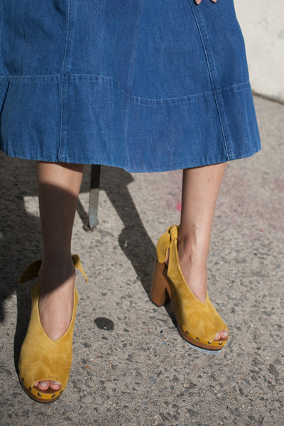 Ulla Johnson Mina Clog in Honey Suede | Oroboro Store | New York, New York
