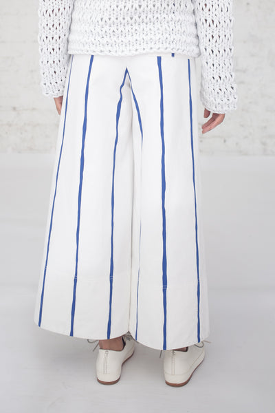 Cotton Canvas Pant in White/Blue