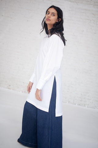 Tomorrowland Collarless Shirt Dress in White | Oroboro Store | New York, NY