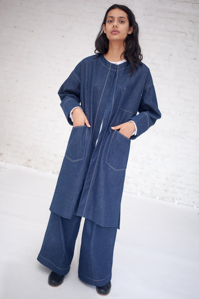 Collarless Coat in Blue