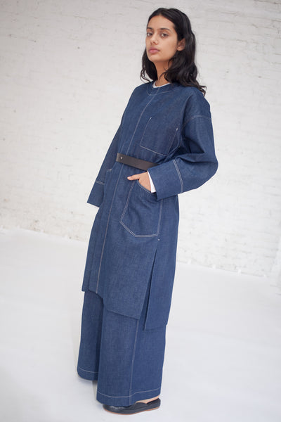 Tomorrowland Collarless Coat in Blue | Oroboro Store | New York, NY