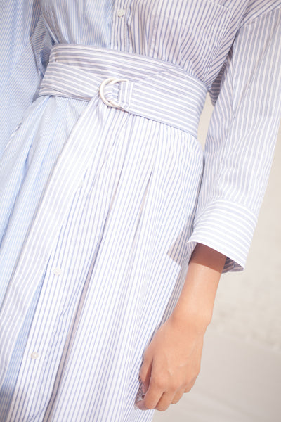 Stripe Combo Dress in Blue Stripe