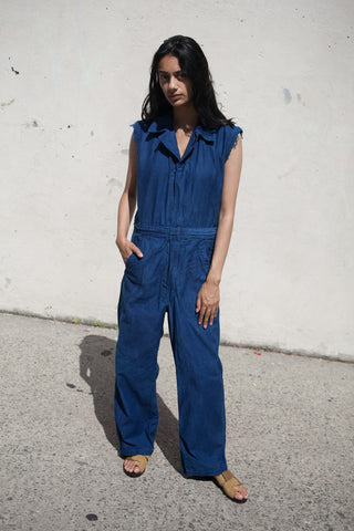 As Ever Sleeveless Zip Jumpsuit in Indigo | Oroboro Store | New York, New York