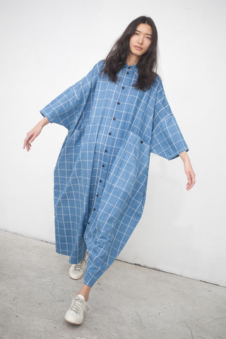 69 Big Button One Piece in Medium Light Plaid | Oroboro Store | New York, NY