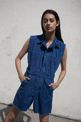 As Ever Sleeveless Zip Jumpsuit Shorts in Indigo | Oroboro Store | New York, New York