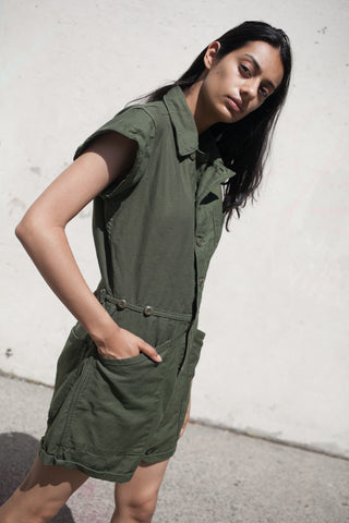 As Ever Cap Sleeve Button Up Jumpsuit Shorts in Army Green | Oroboro Store | New York, New York