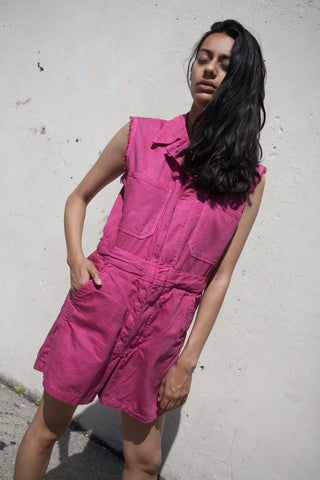 As Ever Sleeveless Zip Jumpsuit Shorts in Raspberry | Oroboro Store | New York, New York