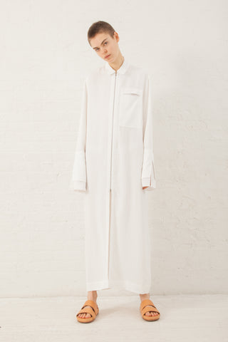 Zip Front Shirtdress in White