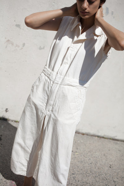 Sleeveless Zip Jumpsuit in Bone