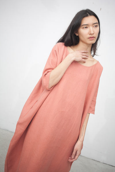 Long Cocoon Dress in Terracotta